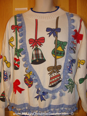 Horrible Funny Ugly Christmas 80s Sweatshirt 3D Fringe