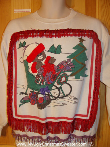 Funny Ugly Christmas Sweatshirt Bear 3D Purple Fringe