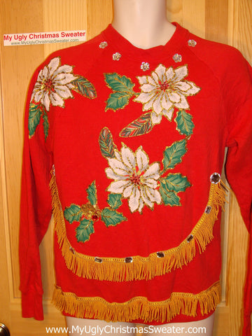 Ugly Christmas Tacky Sweatshirt Homecrafted Poinsettias with Fringe (q9)