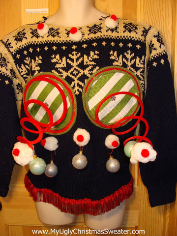 Naughty Tacky 3D Ugly Christmas Sweater Springy Funny Vintage Nordic Knit Fringe (r10)