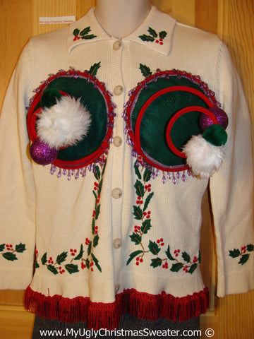 Naughty Tacky 3D Ugly Christmas Sweater Springy Funny with Purple Beadwork and Fringe (r11)