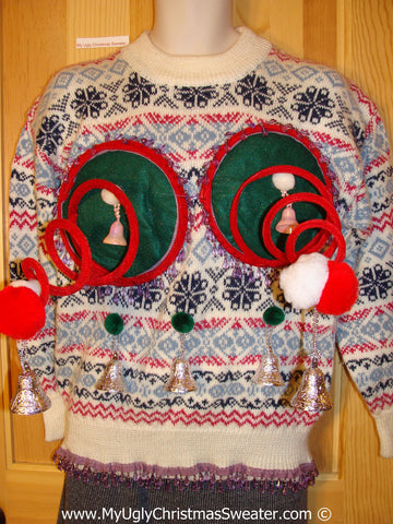 Naughty Tacky 3D Ugly Christmas Sweater Springy Funny Fringe (r12)