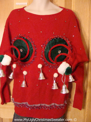 Naughty Tacky 3D Ugly Christmas Sweater Springy Funny Fringe (r14)