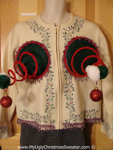 Naughty Tacky 3D Ugly Christmas Sweater Springy Funny Fringe (r17)