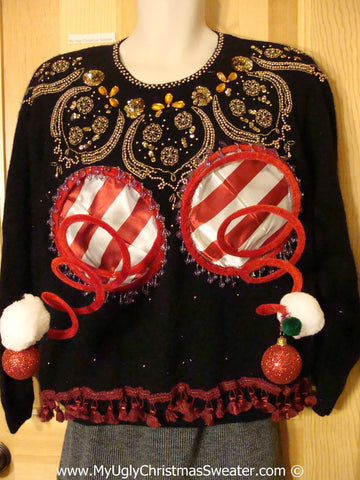 Naughty Tacky 3D Ugly Christmas Sweater Springy Funny Fringe (r18)