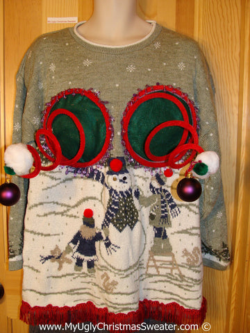 Naughty Tacky 3D Ugly Christmas Sweater Springy Funny Fringe (r19)
