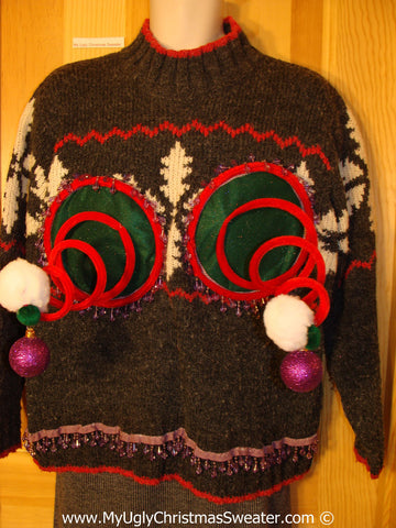 Naughty Tacky 3D Ugly Christmas Sweater Springy Funny Fringe (r20)