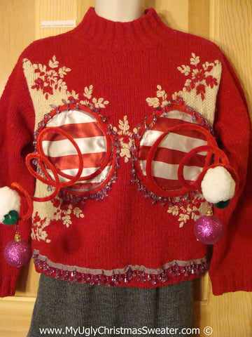 Naughty Tacky 3D Ugly Christmas Sweater Springy Funny Fringe (r21)