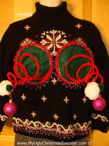 Naughty Tacky 3D Ugly Christmas Sweater Springy Funny Fringe (r22)