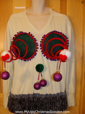 Mens Naughty Tacky Ugly Christmas Sweater with Funny Springy 3D Accents and Dangling Balls and Fringe (r23)