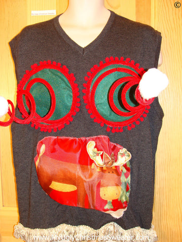 Mens Naughty Tacky Ugly Christmas Sweater Vest with Funny Springy 3D Accents, Puffy Reindeer,  and Fringe (r24)