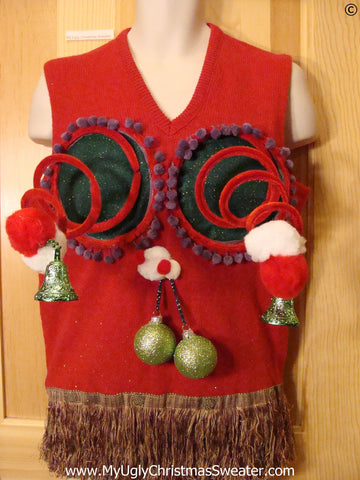 Mens Naughty Tacky Ugly Christmas Sweater Vest with Funny Springy 3D Accents and Dangling Balls and Fringe (r25)