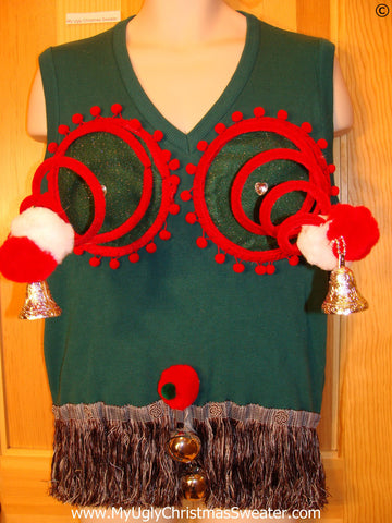 Mens Naughty Tacky Ugly Christmas Sweater Vest with Funny Springy 3D Accents and Fringe and Dangling Balls Jingle Bells (r26)
