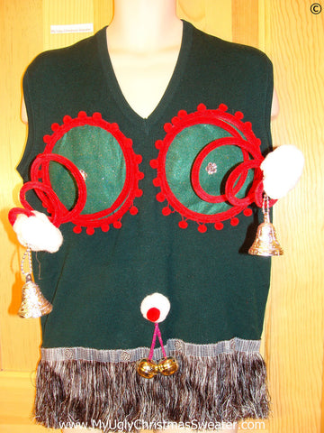 Mens Naughty Tacky Ugly Christmas Sweater Vest with Funny Springy 3D Accents and Fringe and Jingle Bells Balls (r27)