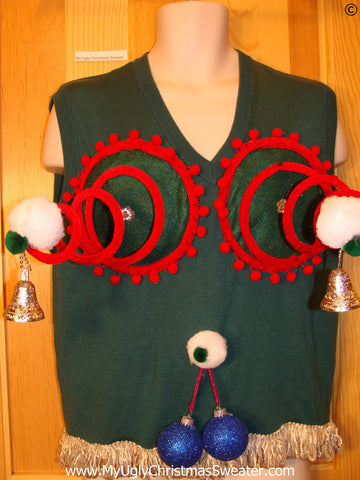 Mens Naughty Tacky Ugly Christmas Sweater Vest with Funny Springy 3D Accents and Fringe and Blue Balls Dangling Ornaments (r29)