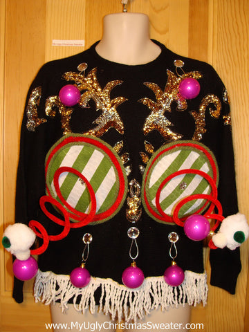 Naughty Tacky 3D Ugly Christmas Sweater Springy Funny 80s Bat-Arms Fringe (r2)
