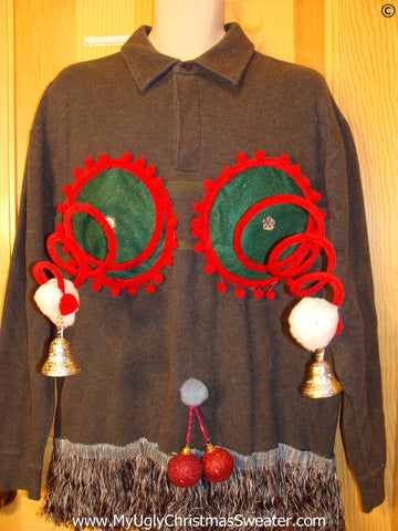 Mens Naughty Tacky Ugly Christmas Sweater with Funny Springy 3D Accents and Fringe and Dangling Balls Glitter Ornaments (r31)