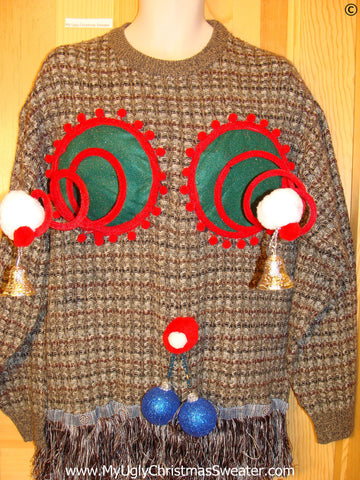 Mens Naughty Tacky Ugly Christmas Sweater with Funny Springy 3D Accents and Fringe and Dangling Blue Balls Glitter Ornaments (r32)