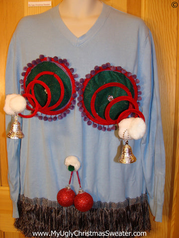 Mens Naughty Tacky Ugly Christmas Sweater with Funny Springy 3D Accents and Fringe and Dangling Balls Glitter Ornaments (r33)