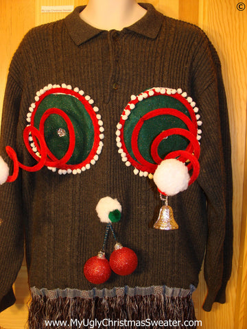 Mens Naughty Tacky Ugly Christmas Sweater with Funny Springy 3D Accents and Fringe and Dangling Balls Glitter Ornaments (r36)