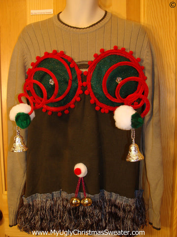 Mens Naughty Tacky Ugly Christmas Sweater with Funny Springy 3D Accents and Fringe with Dangling Balls Jingle Bells (r38)