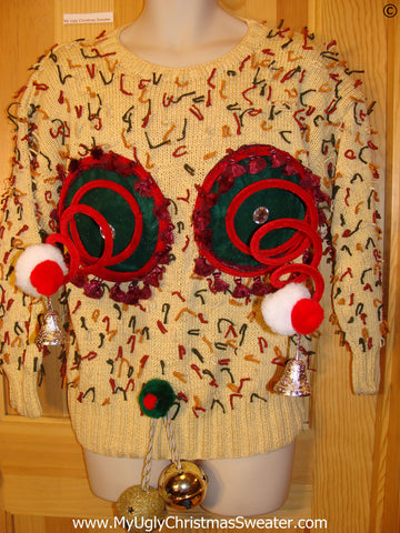 Naughty Tacky Ugly Christmas Sweater with Funny Springy 3D Accents and Fringe and Massive Jingle Balls. 80s Classic Gem with Yarn Sprigs All Over (r40)