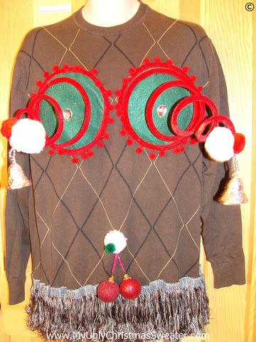 Mens Naughty Tacky Ugly Christmas Sweater with Funny Springy 3D Accents and Fringe and Dangling Balls Glitter Ornaments  (r43)