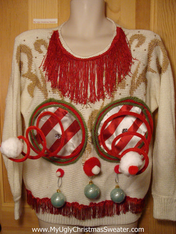 Naughty Tacky 3D Ugly Christmas Sweater Springy Funny 80s Padded Shoulders Fringe (r4)