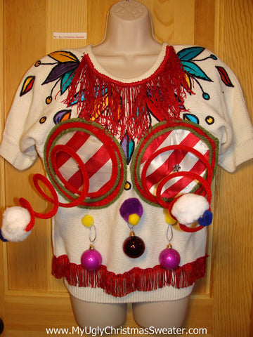 Naughty Tacky 3D Ugly Christmas Sweater Springy Funny 80s Tropical Pattern Padded Shoulders Fringe (r5)