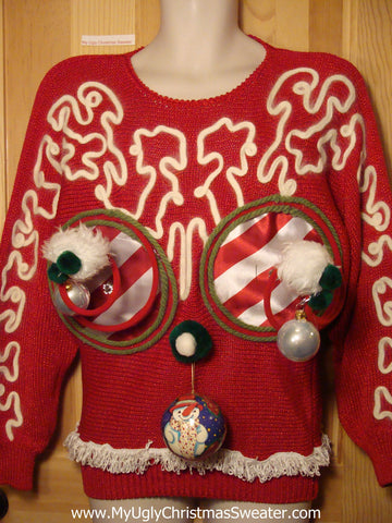 Naughty Tacky 3D Ugly Christmas Sweater Springy Funny 80s Padded Shoulders Bat-Arms Fringe (r6)
