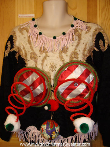 Naughty Tacky 3D Ugly Christmas Sweater Springy Funny 80s Padded Shoulders Bat Arms Glam & Fringe (r9)