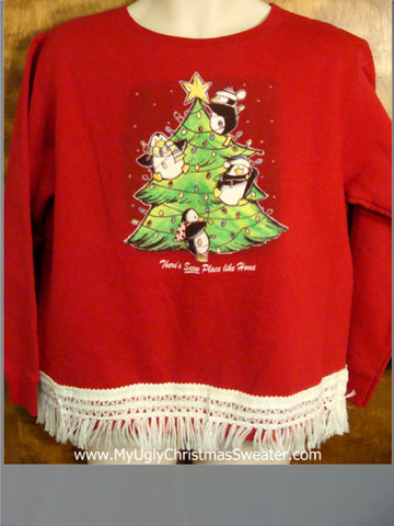 Penguins in Tree Christmas Sweatshirt