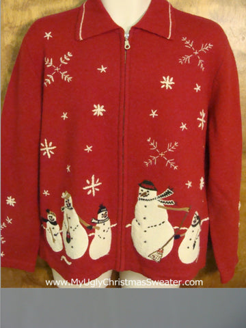Red and White Snowman Themed Ugly Christmas Jumper