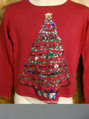 Sequin Bling Tree Themed Ugly Christmas Sweater Pullover