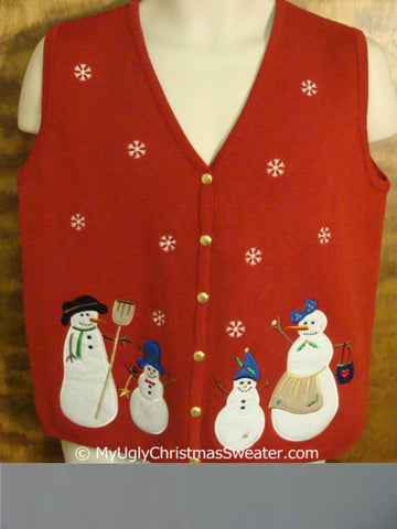 Cheap Snowman Family Themed Red Christmas Sweater Vest