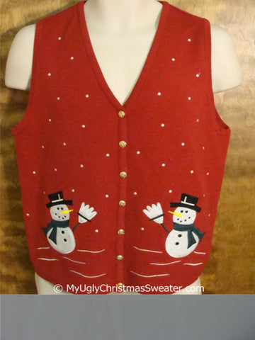 Cheap Snowmen Waving Christmas Sweater Vest
