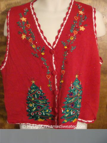 Cheap Red Christmas Sweater Vest with Awful Trees