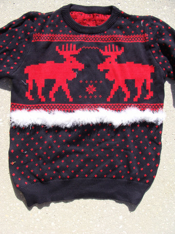 Mens 2sided Reindeer Moose Red and Black Holiday Sweater