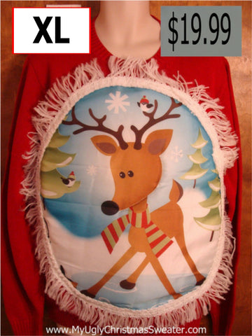 Crewneck Puffy Reindeer Red Christmas Sweater