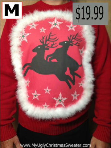 Naughty Christmas Sweater with Hitchhiking Reindeer