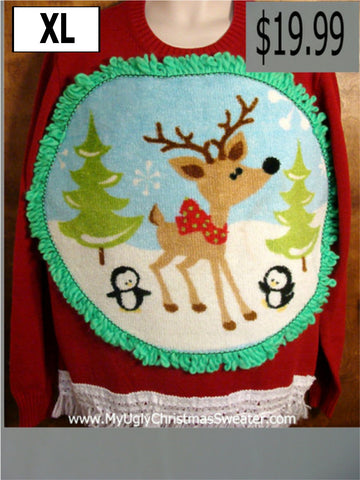Crewneck Reindeer Christmas Sweater with Fringe