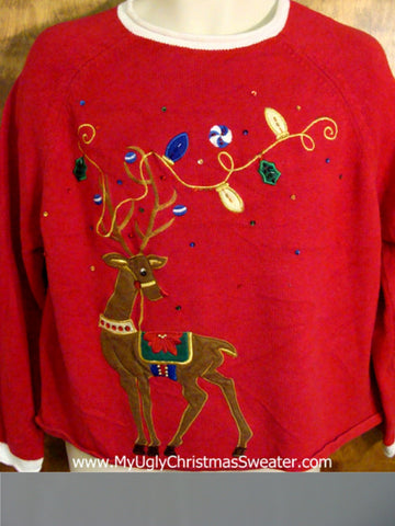 Funny Reindeer Classic Red Christmas Sweater