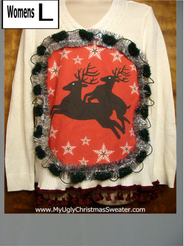Ivory Naughty Reindeer Christmas Sweater