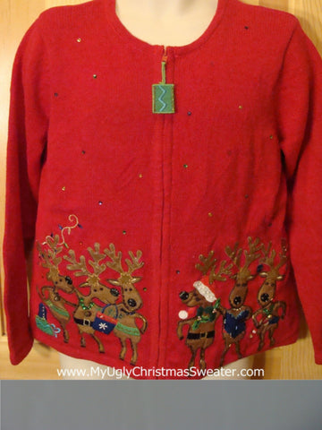 Ugly Red Christmas Sweater Dancing Reindeer