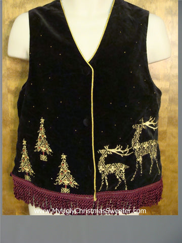 Ugly Christmas Cotton Vest with Fancy Reindeer