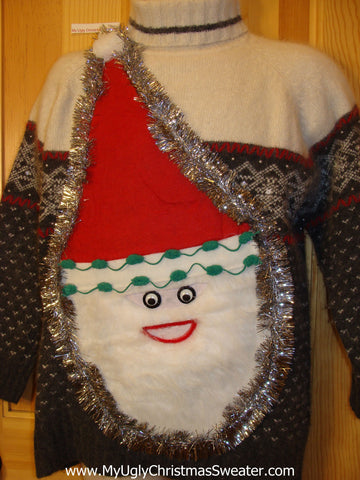 Wacky Nordic 3D Furry Santa Ugly Christmas Sweater