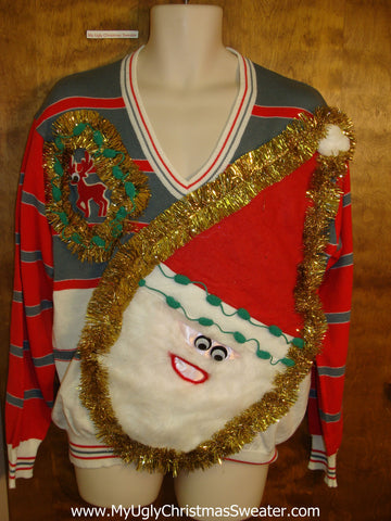 Mens Wacky Santa Ugly Christmas Sweater with Little Reindeer