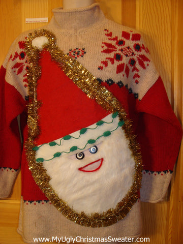 Red and Tan Wacky 3D Furry Santa Ugly Christmas Sweater