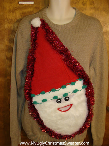 Furry Faced Santa Tacky Christmas Sweater