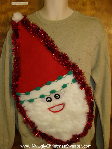 Mens Furry Faced Santa Tacky Christmas Sweater